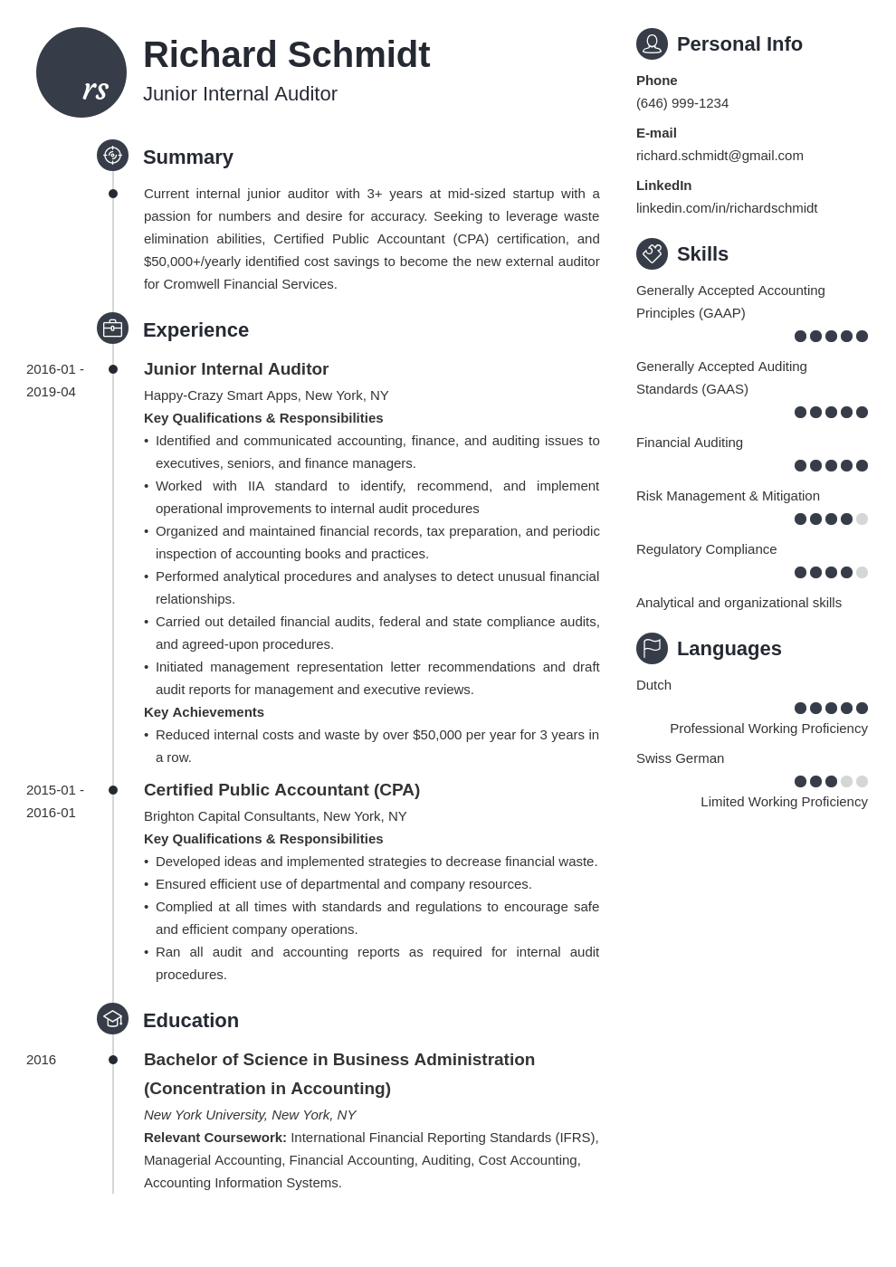 auditor resume example template primo