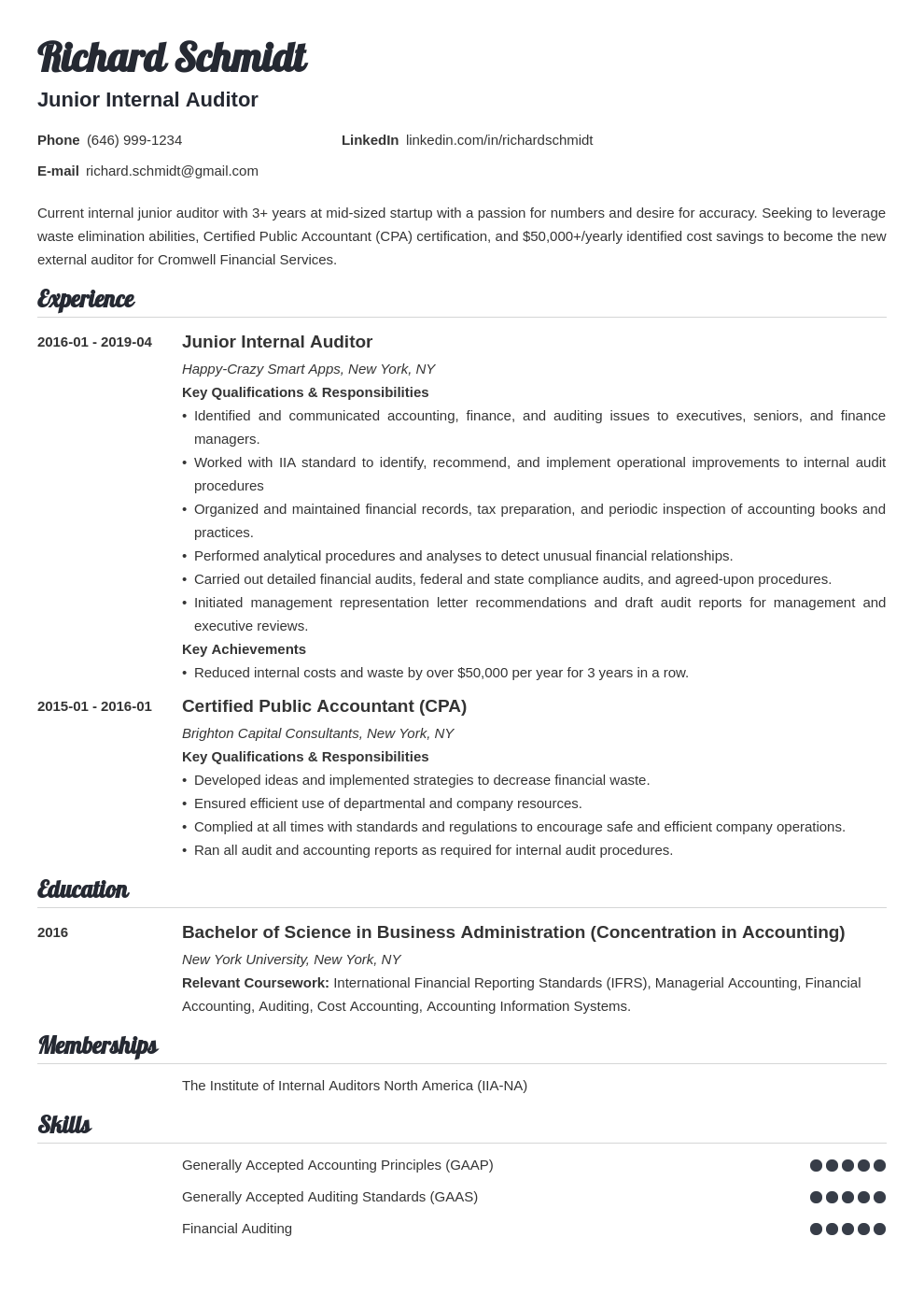 auditor resume example template valera
