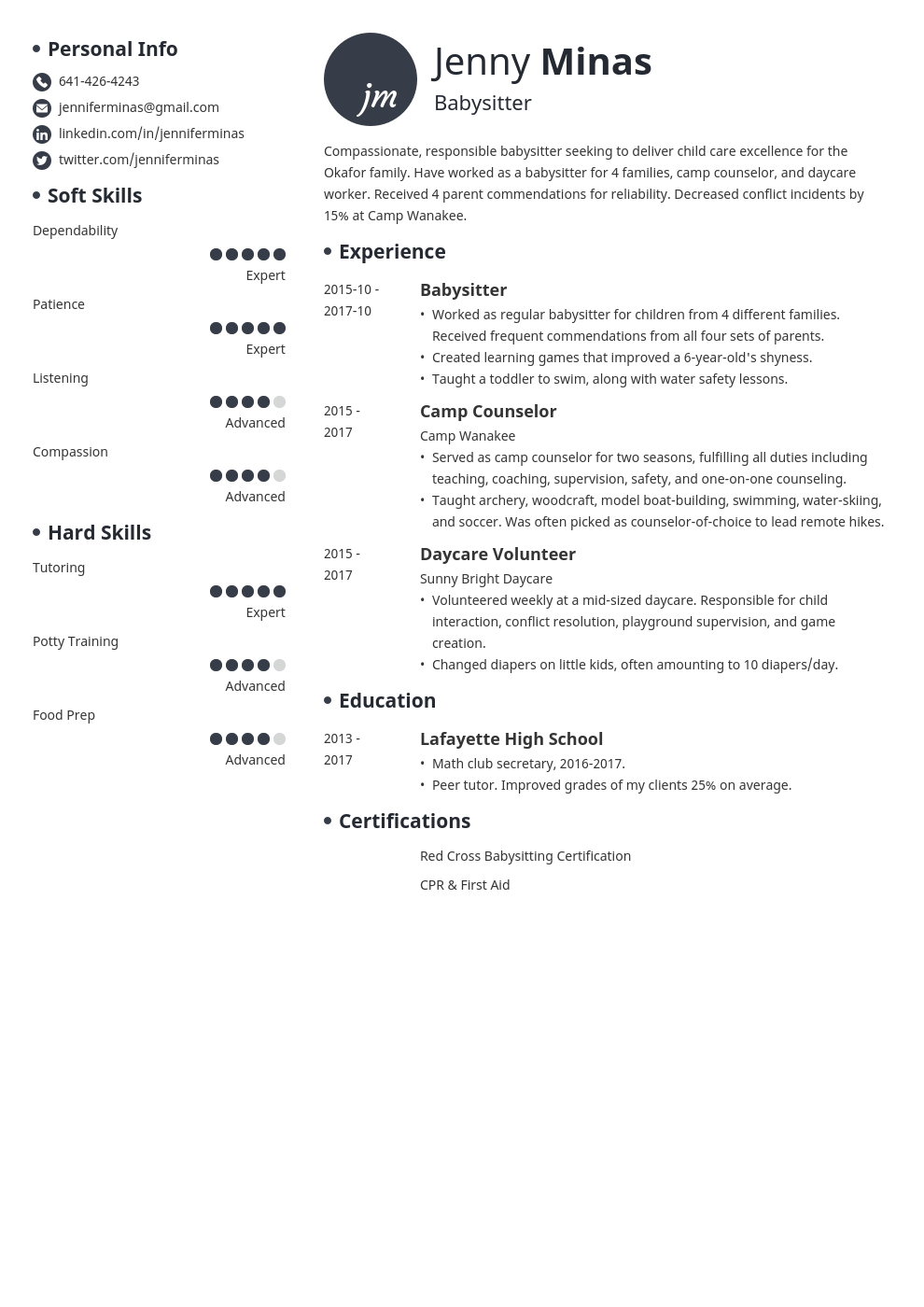 babysitter resume example template initials