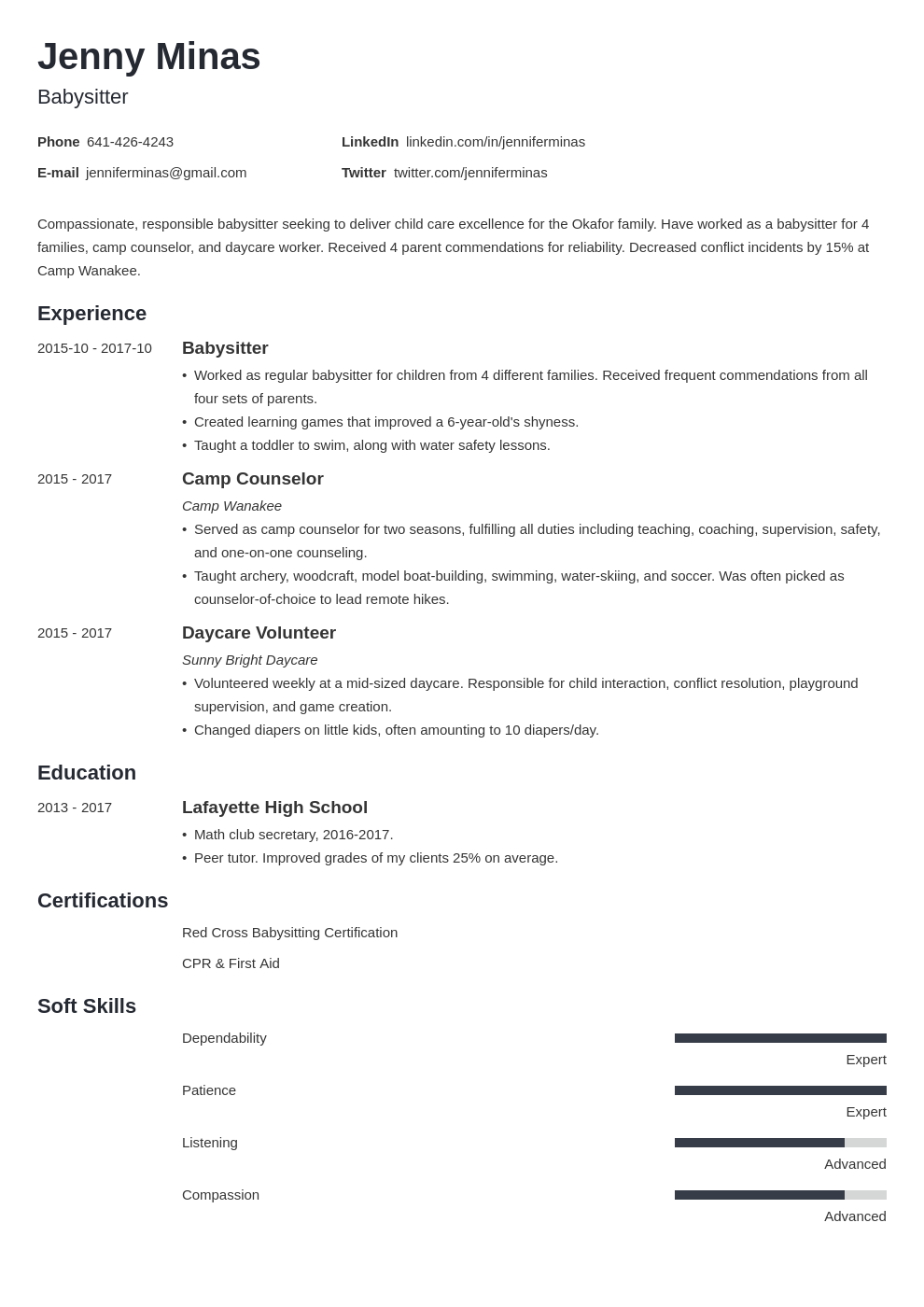 babysitter resume example template minimo