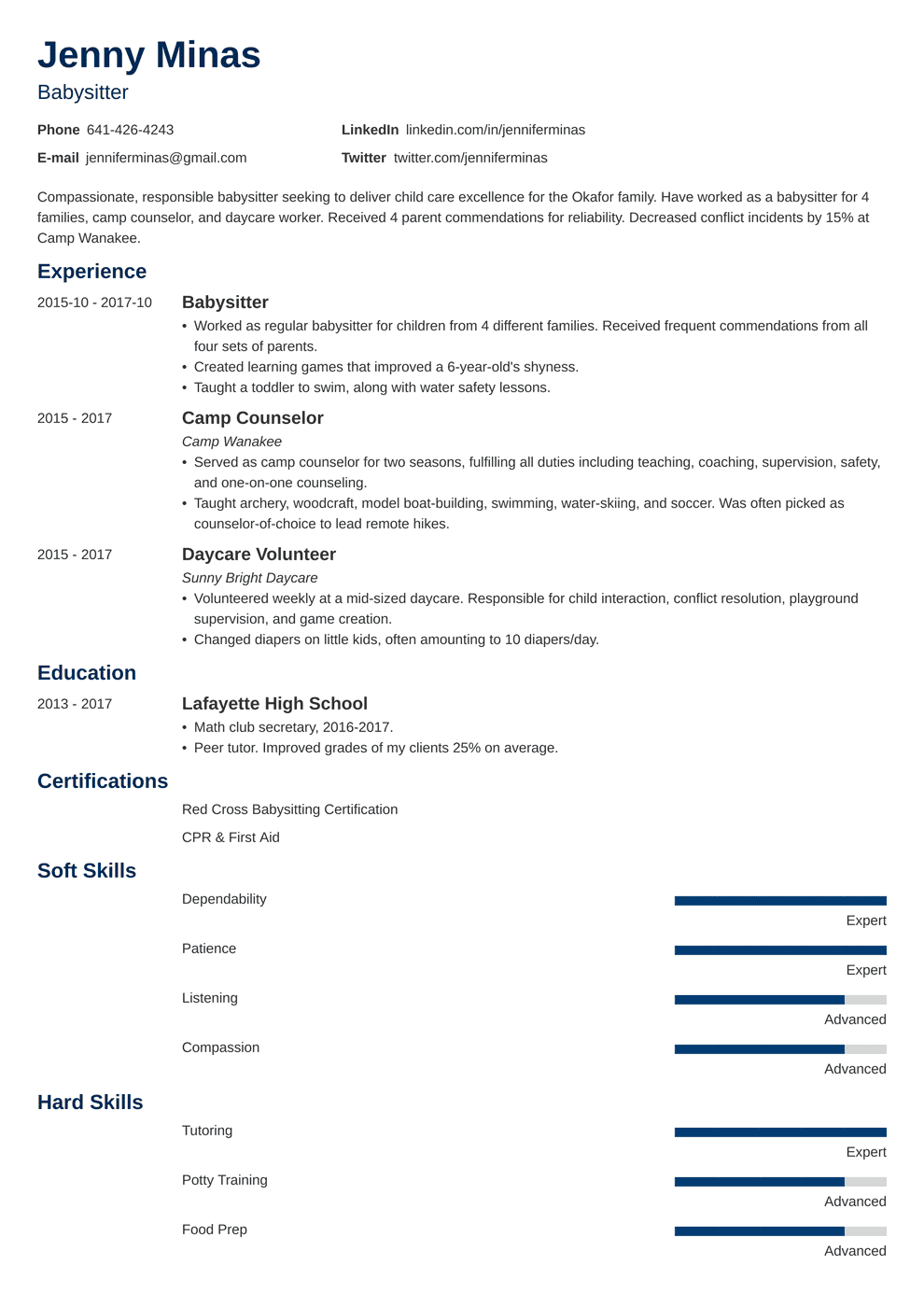 Babysitter Resume Sample And Complete Guide 20 Examples