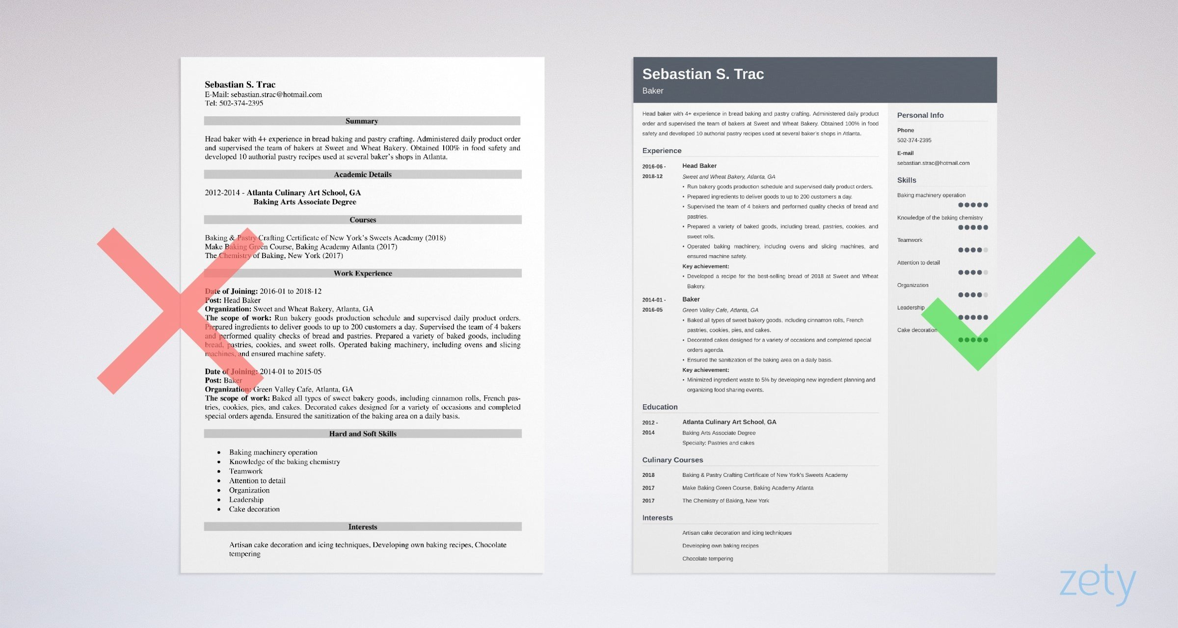 baker resume templates