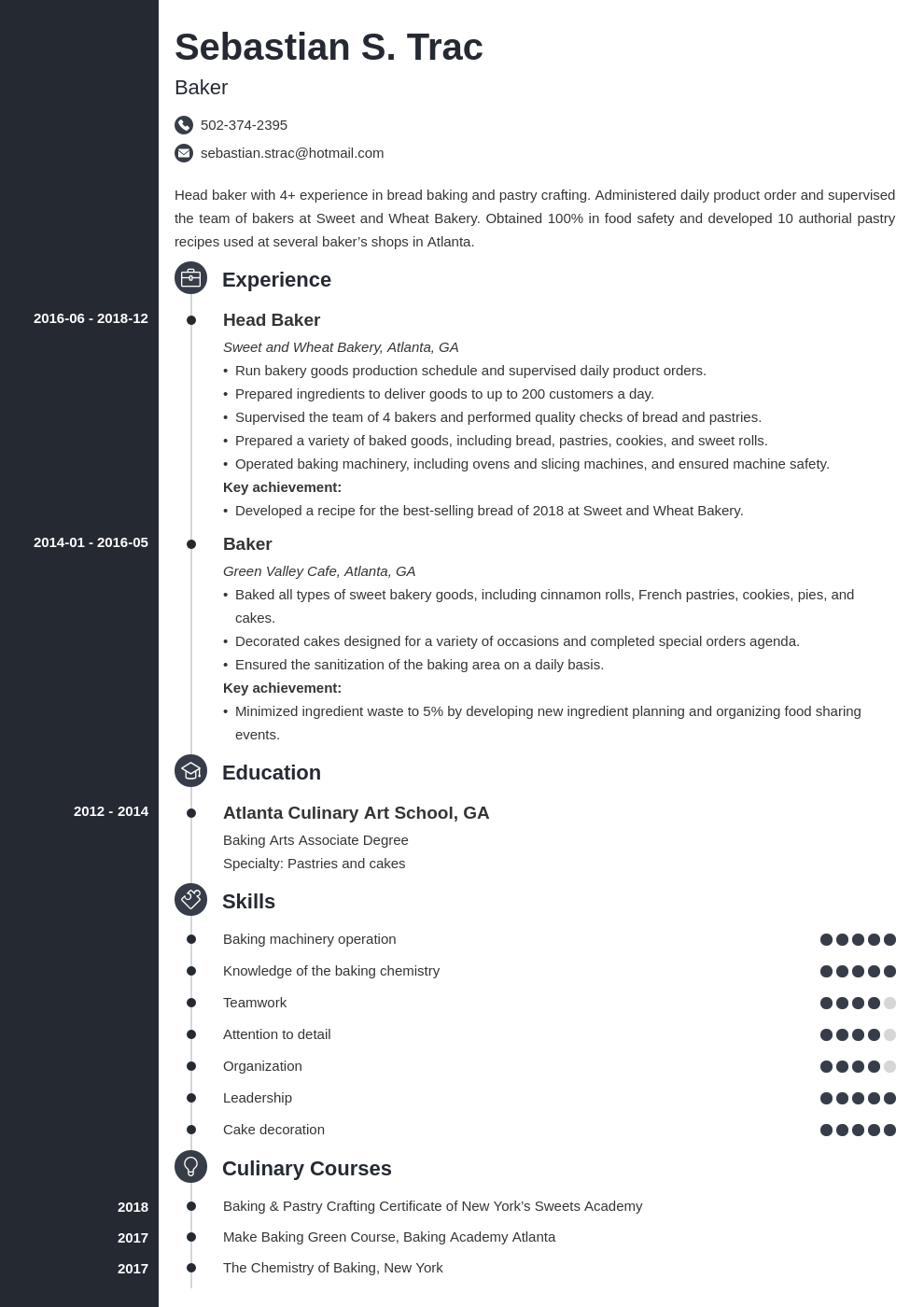baker resume example template concept