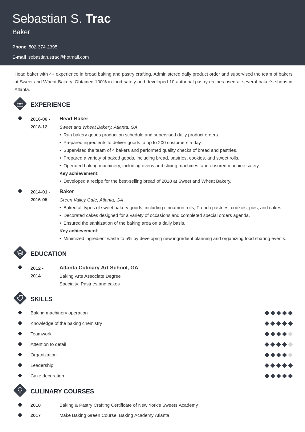 baker resume example template diamond
