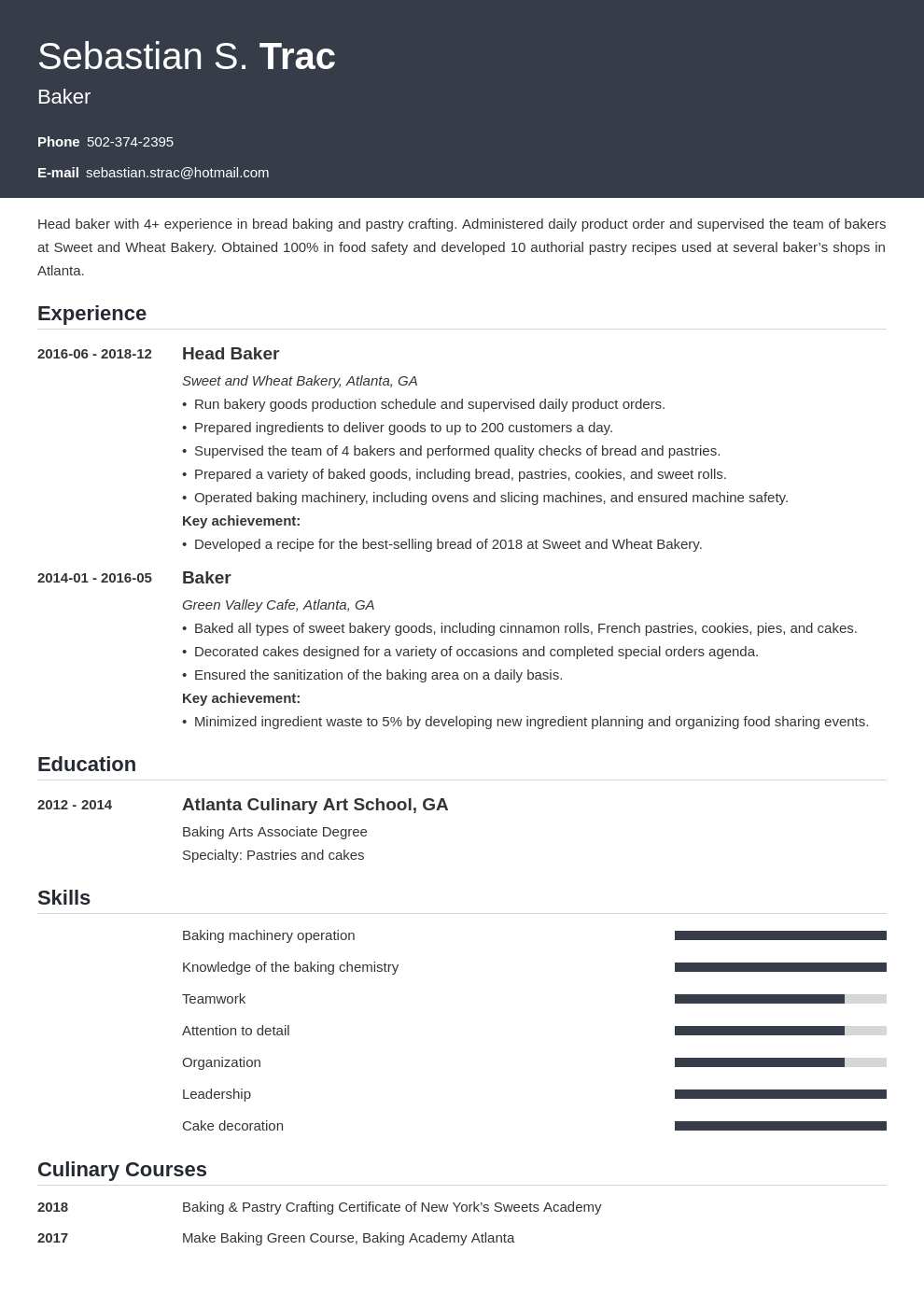 baker resume example template influx