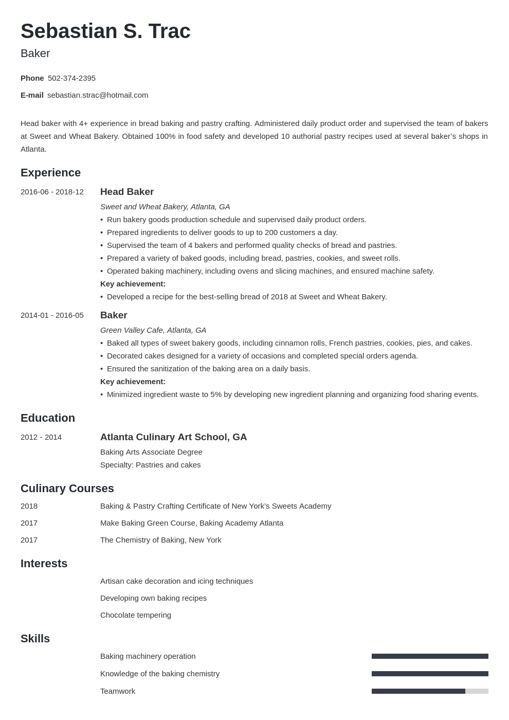 baker resume example template minimo