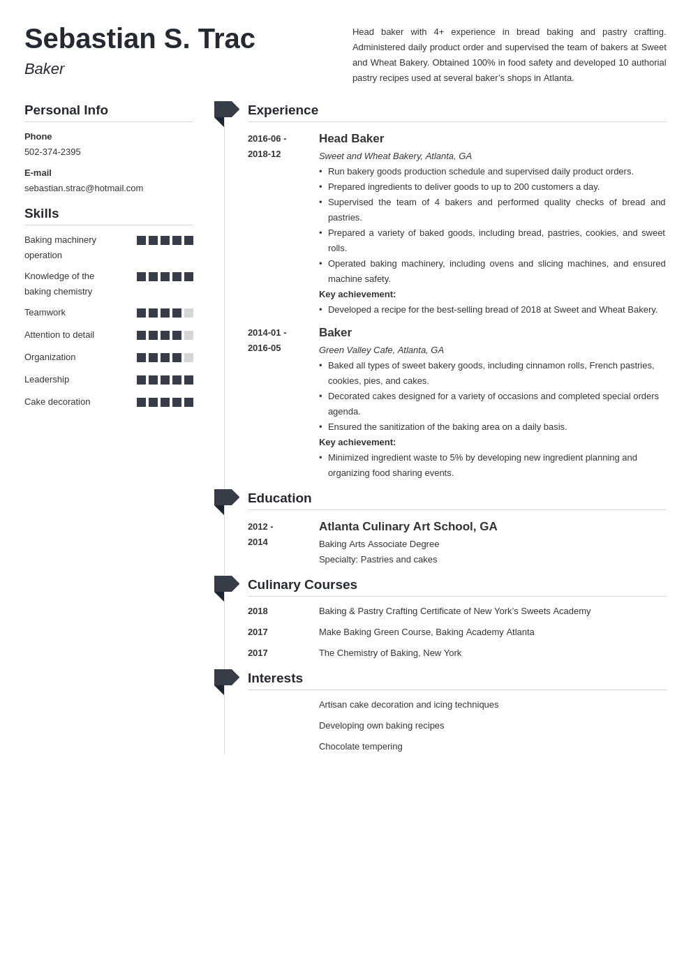 baker resume example template muse