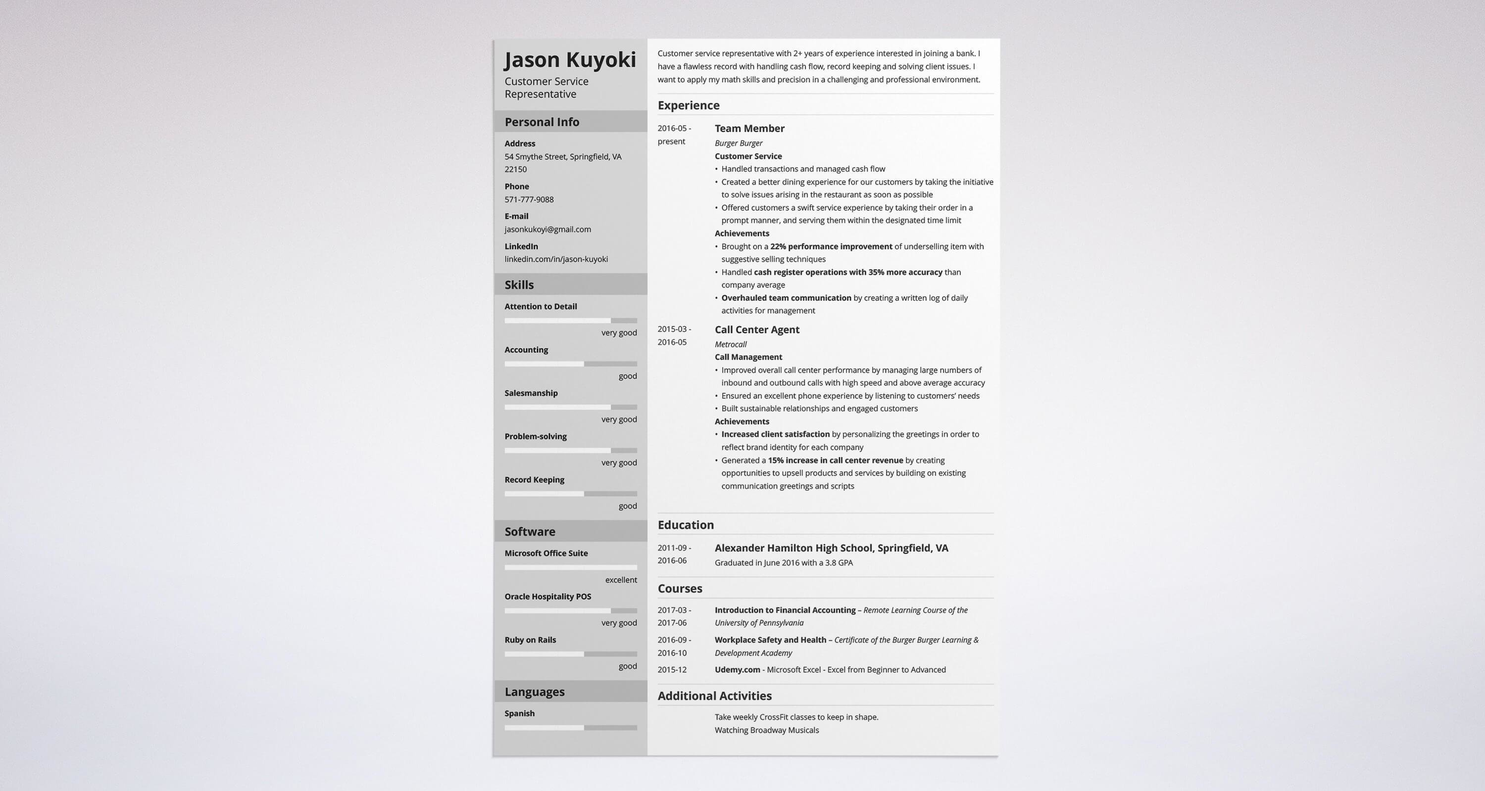 Uptowork  Bank Teller Sample Resume