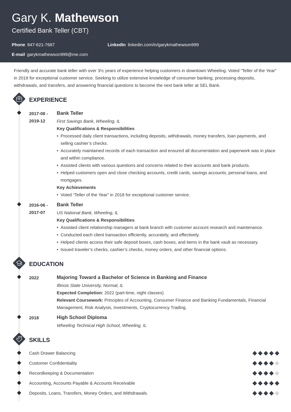bank teller resume template diamond