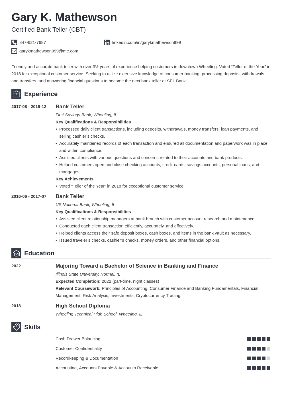 Bank Teller Resume Example Complete Guide 20 Examples