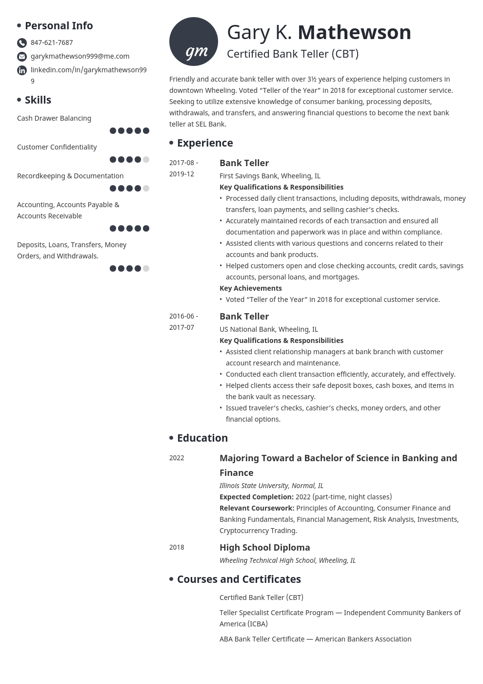bank teller resume template initials