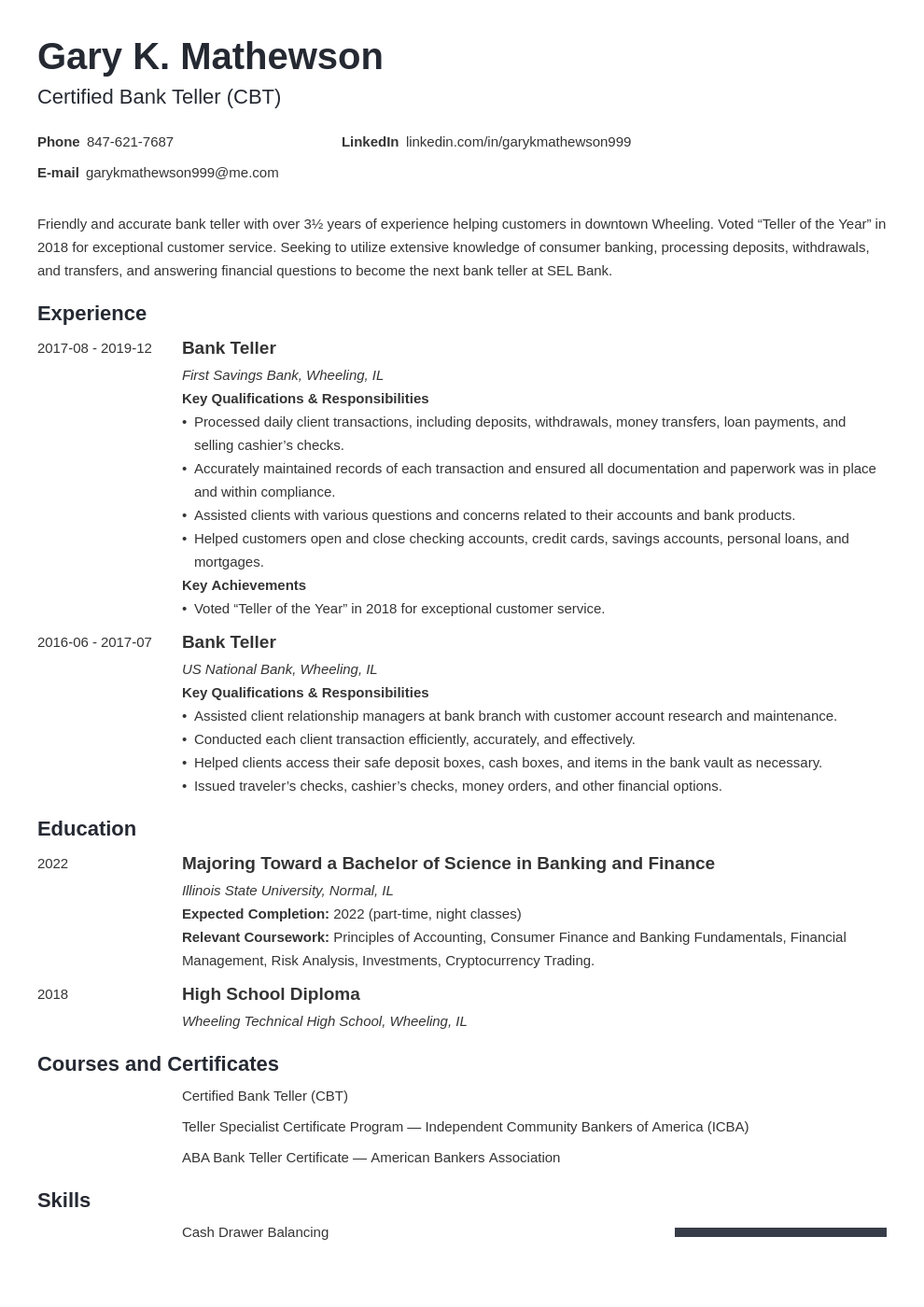 bank teller resume template minimo