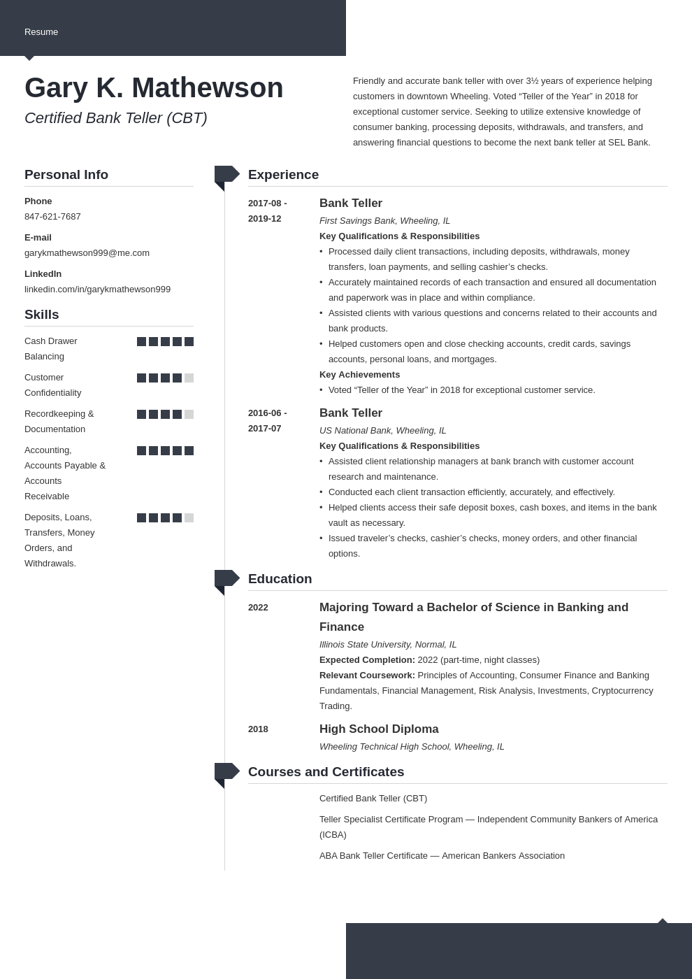 bank teller resume template modern