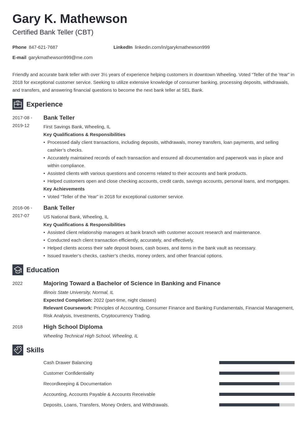 bank teller resume template newcast