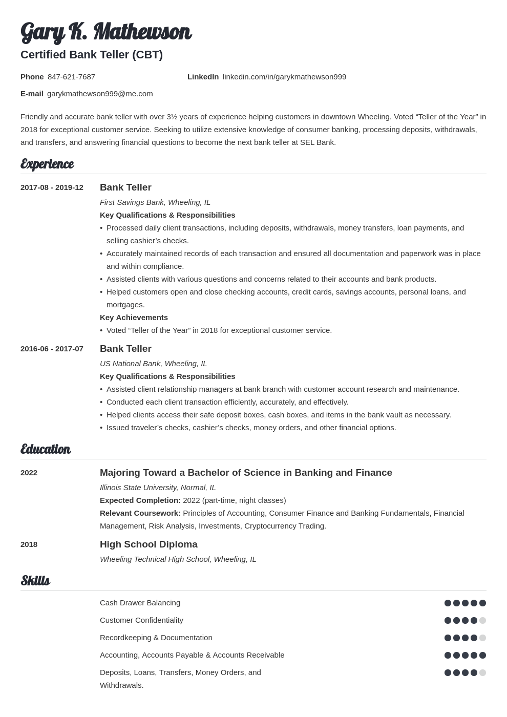 bank teller resume template valera