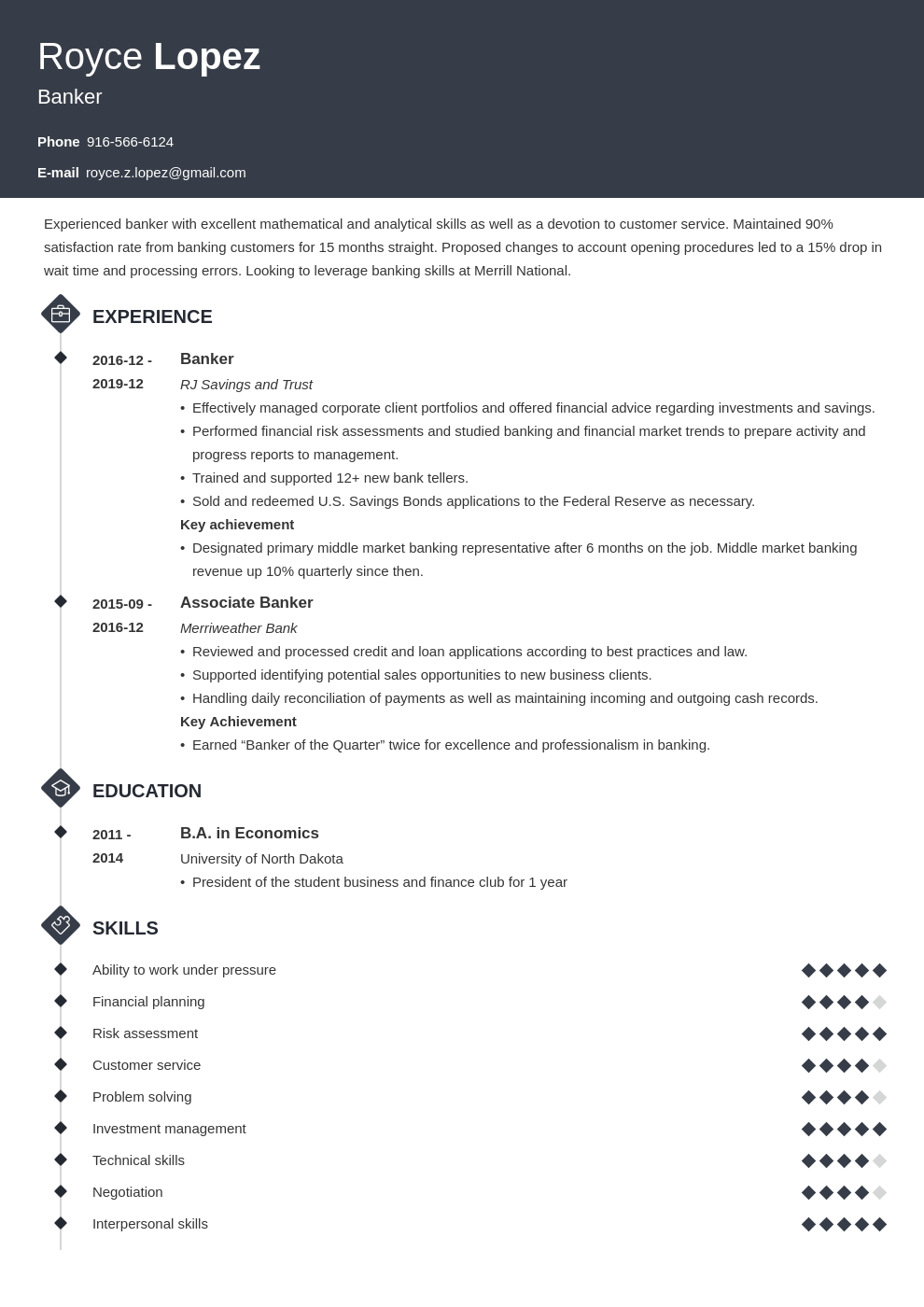 banking resume example template diamond