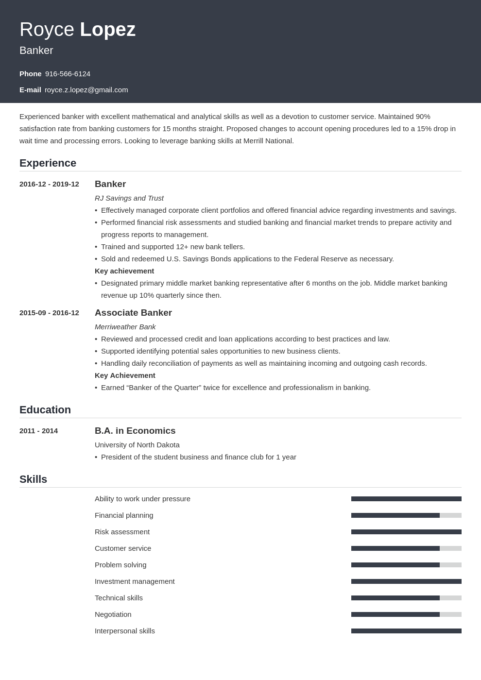 banking resume example template influx