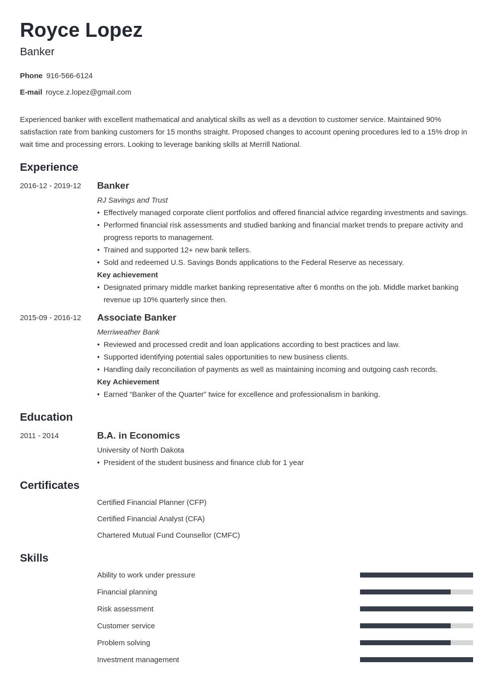 banking resume example template minimo