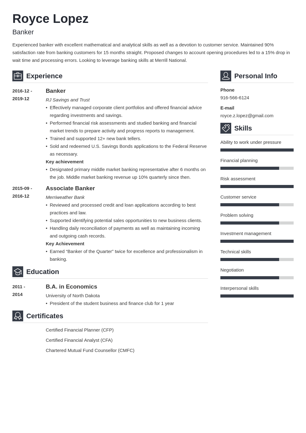 banking resume example template vibes