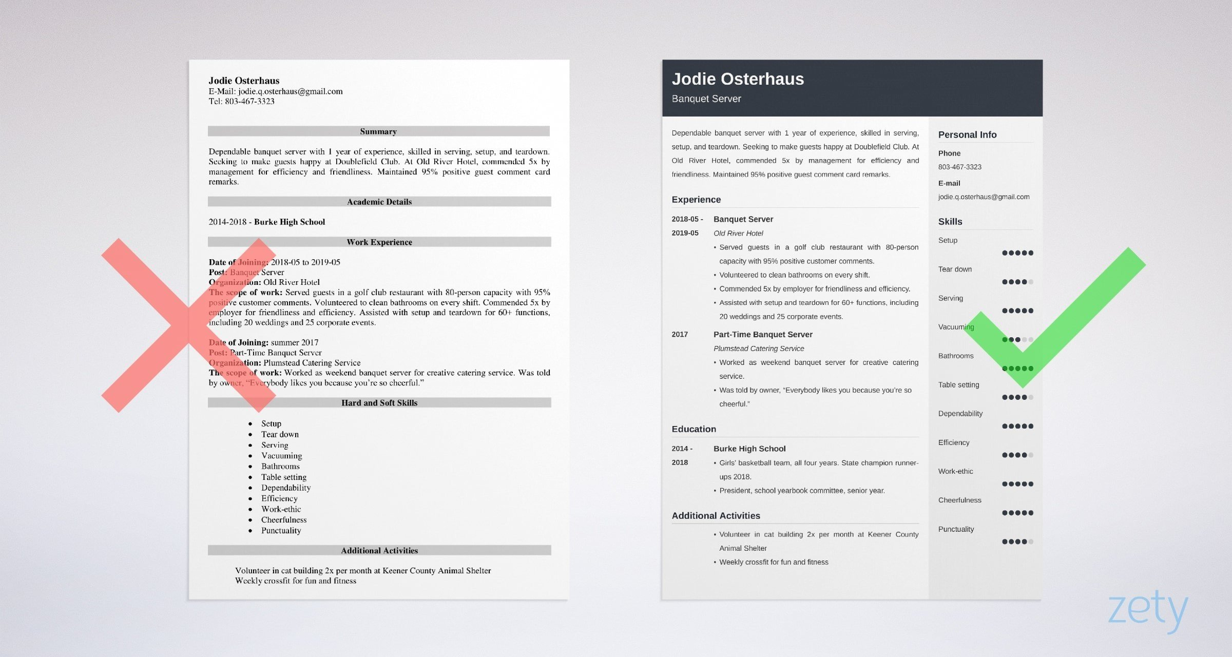banquet server resume templates