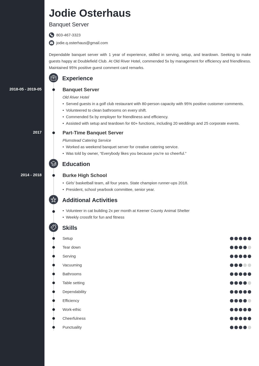 banquet server resume example template concept