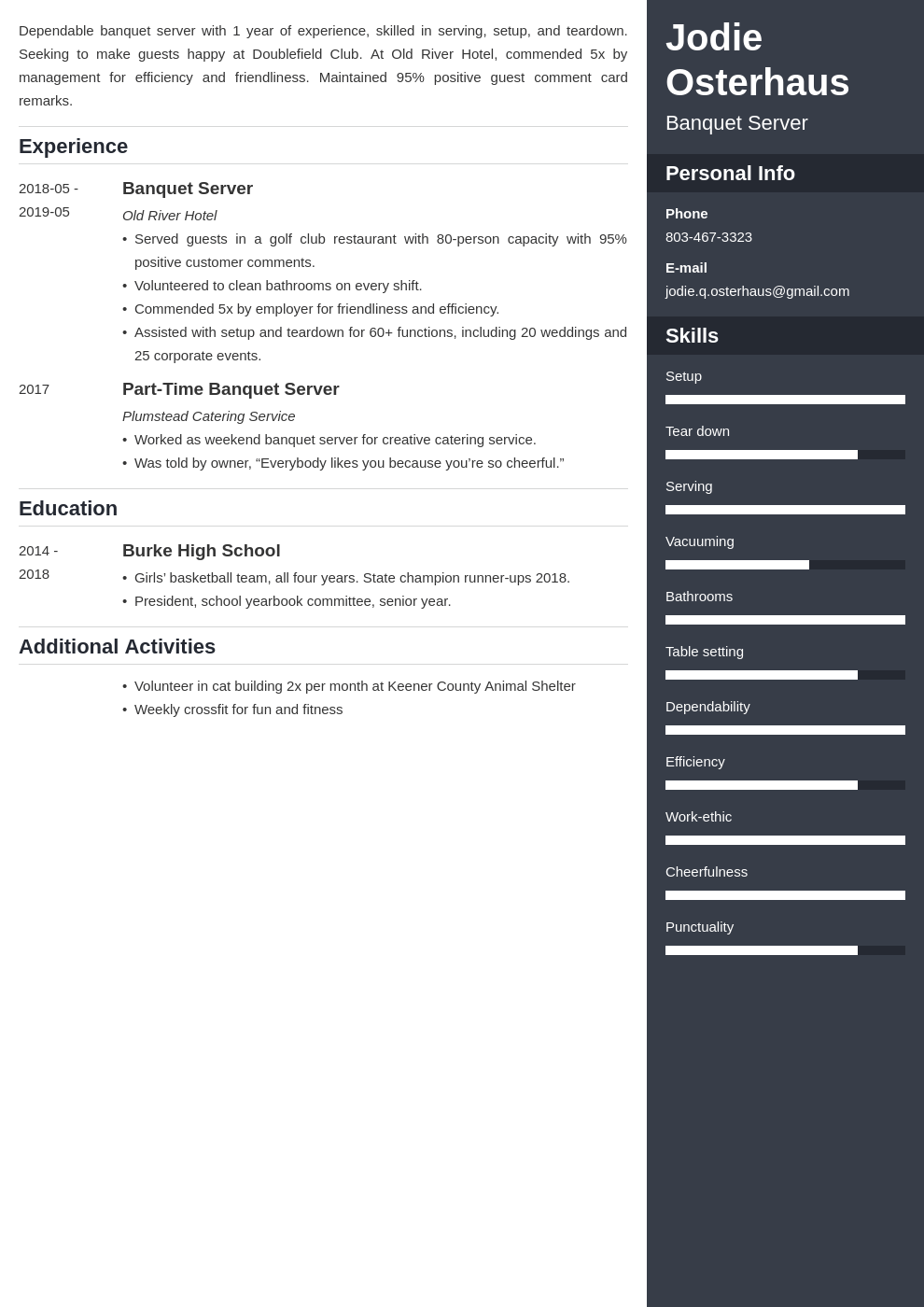 banquet server resume example template enfold