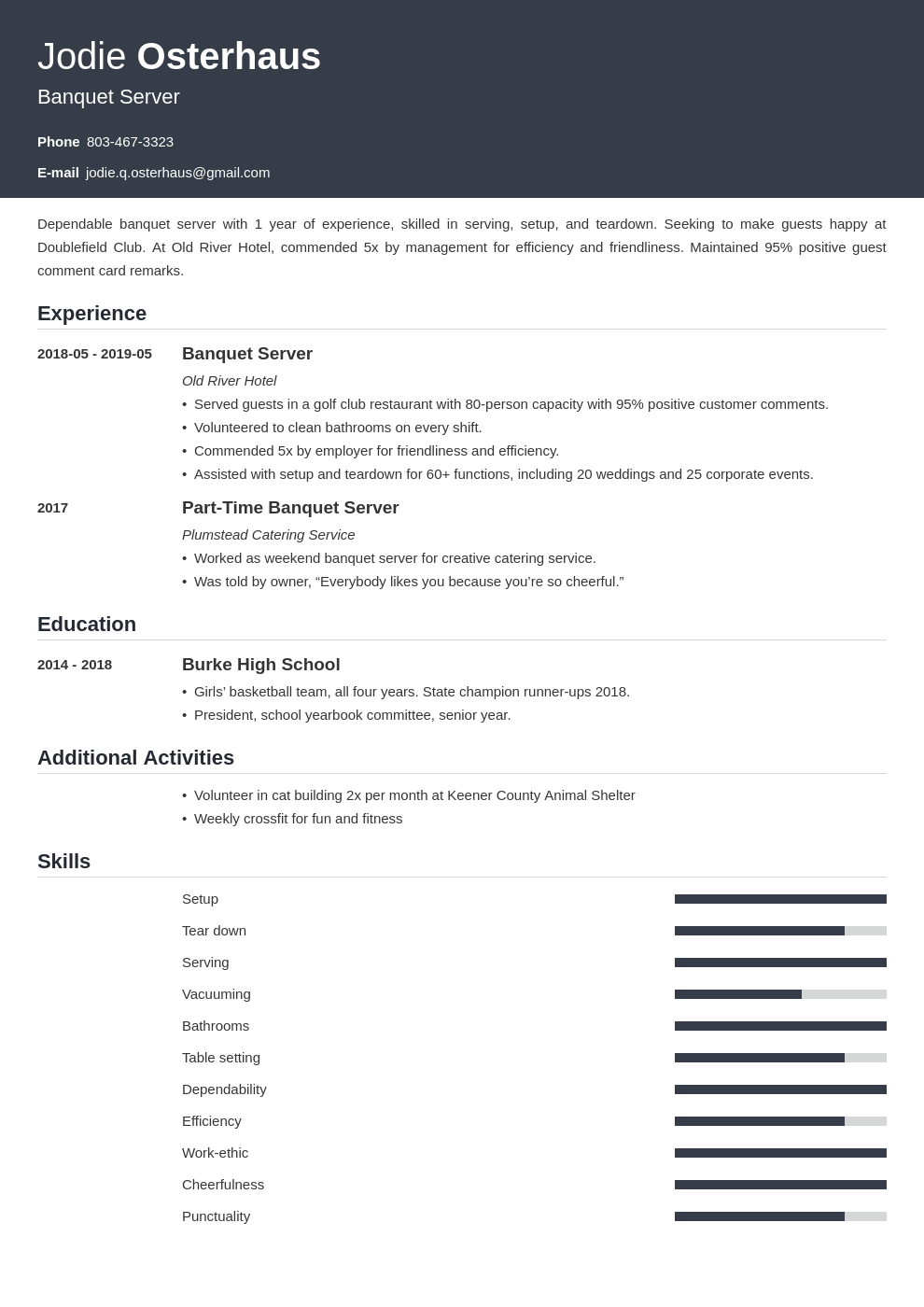 banquet server resume example template influx