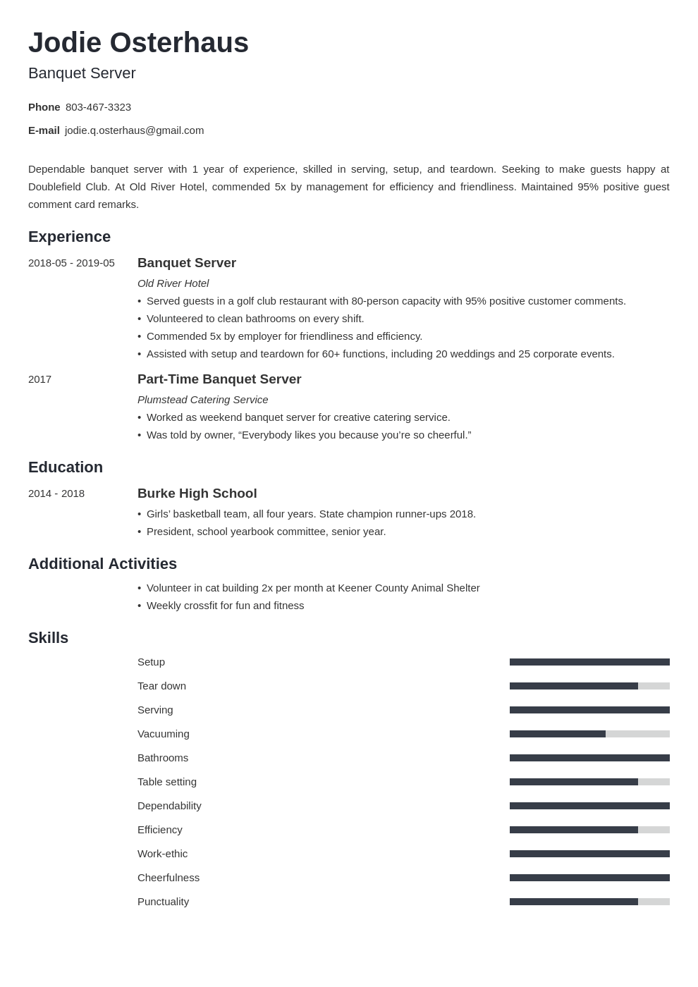 banquet server resume example template minimo