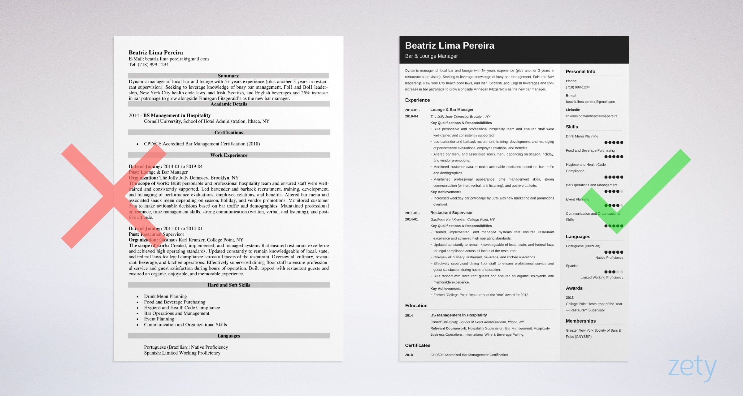 Bar Manager Resume Templates