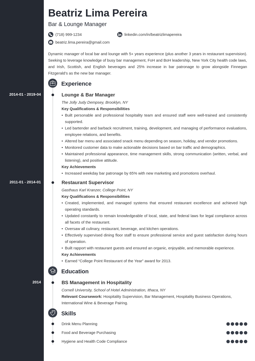 bar manager resume example template concept