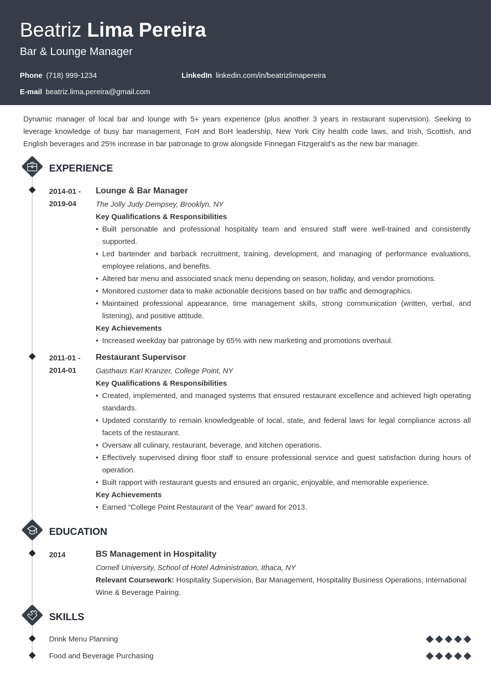bar manager resume example template diamond