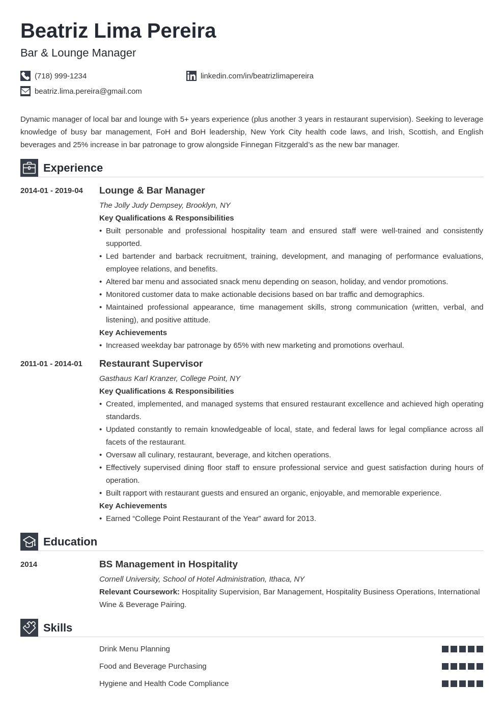bar manager resume example template iconic