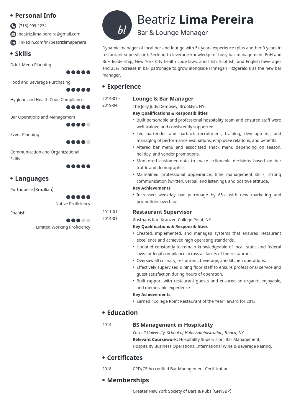 bar manager resume example template initials