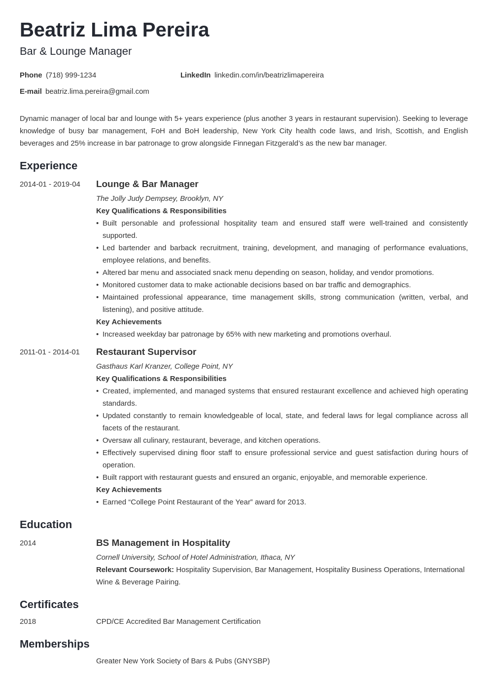 bar manager resume example template minimo
