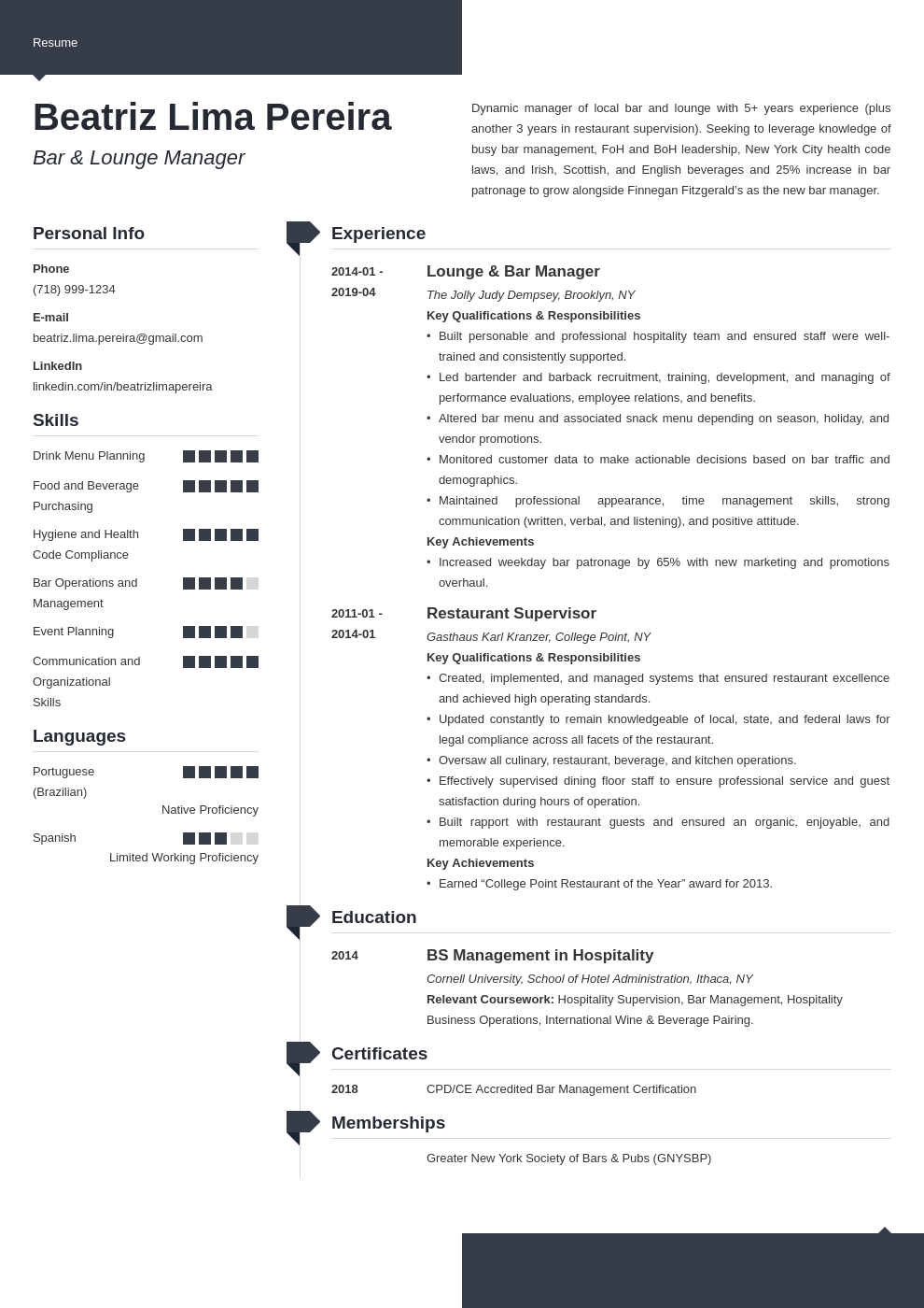 bar manager resume example template modern