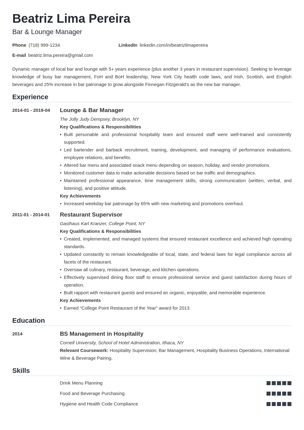 bar manager resume example template nanica