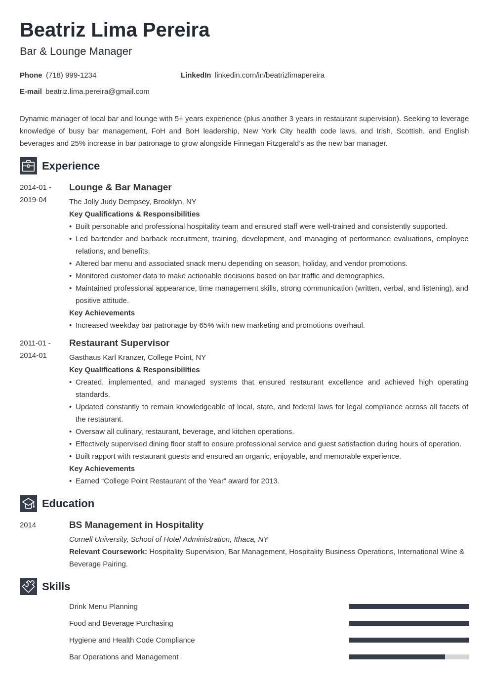 bar manager resume example template newcast