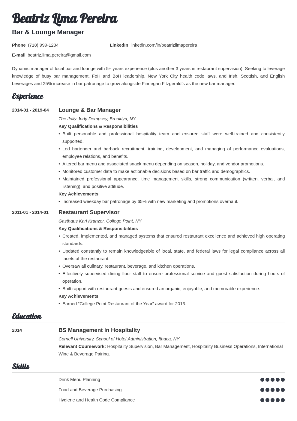 bar manager resume example template valera