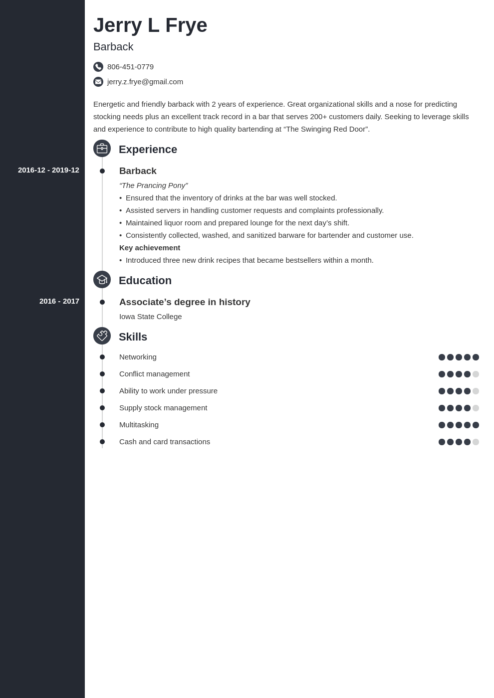 barback resume example template concept