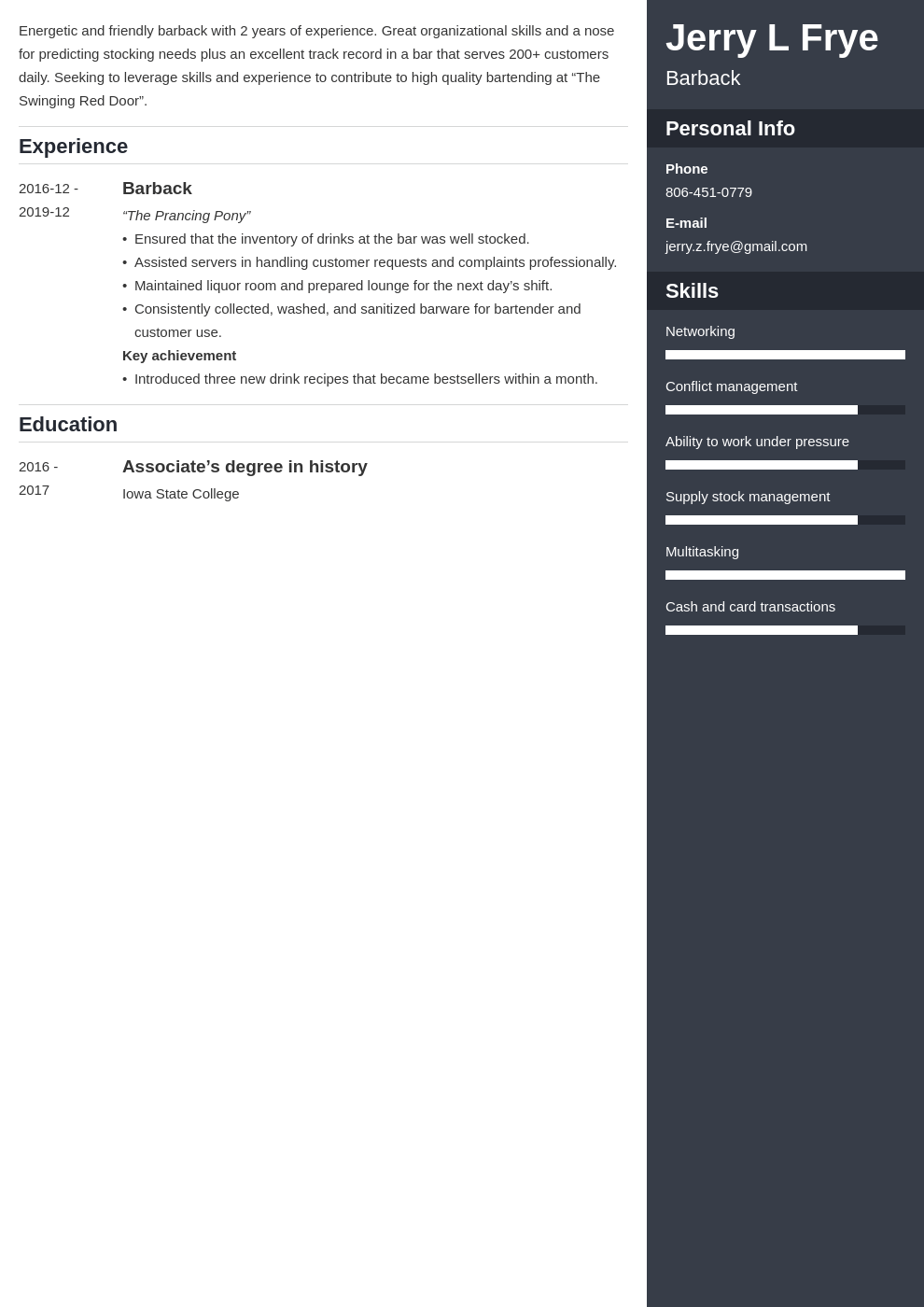 barback resume example template enfold