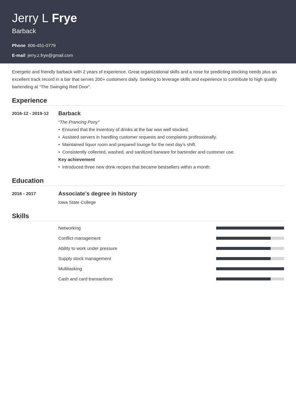 barback resume example template influx