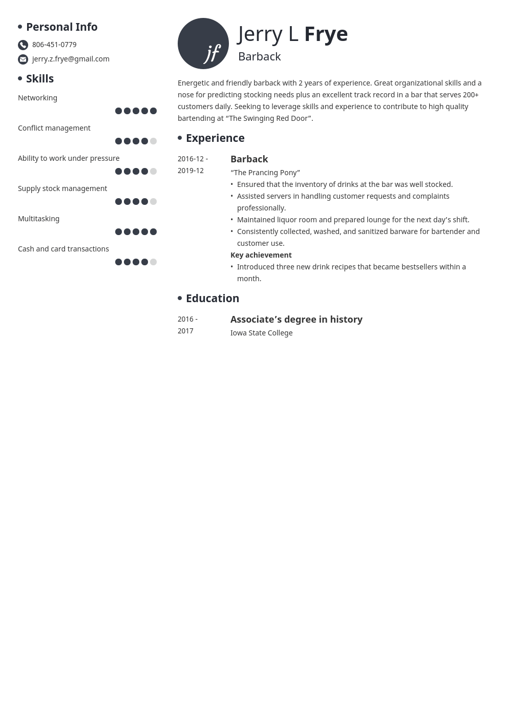 barback resume example template initials