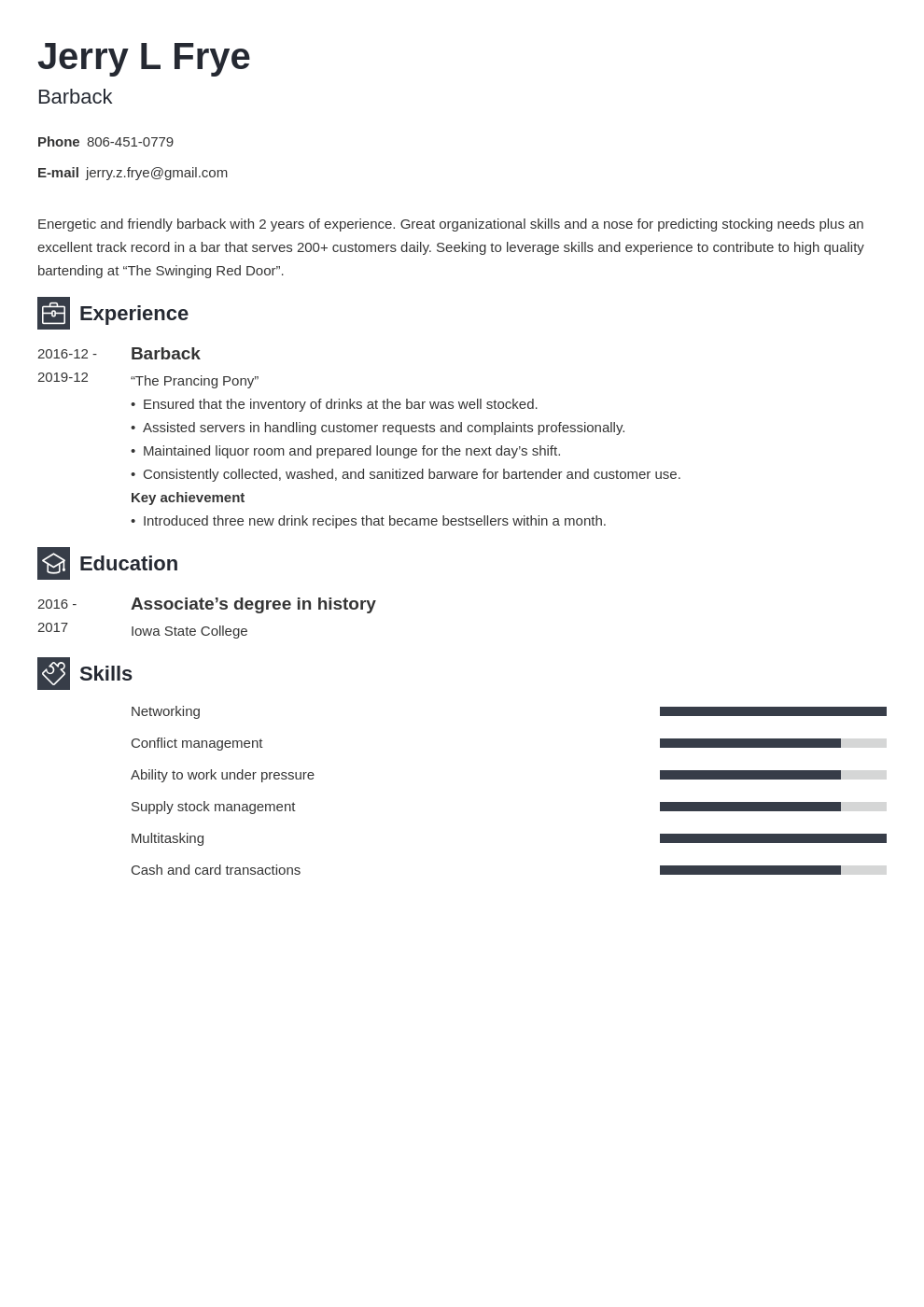 barback resume example template newcast