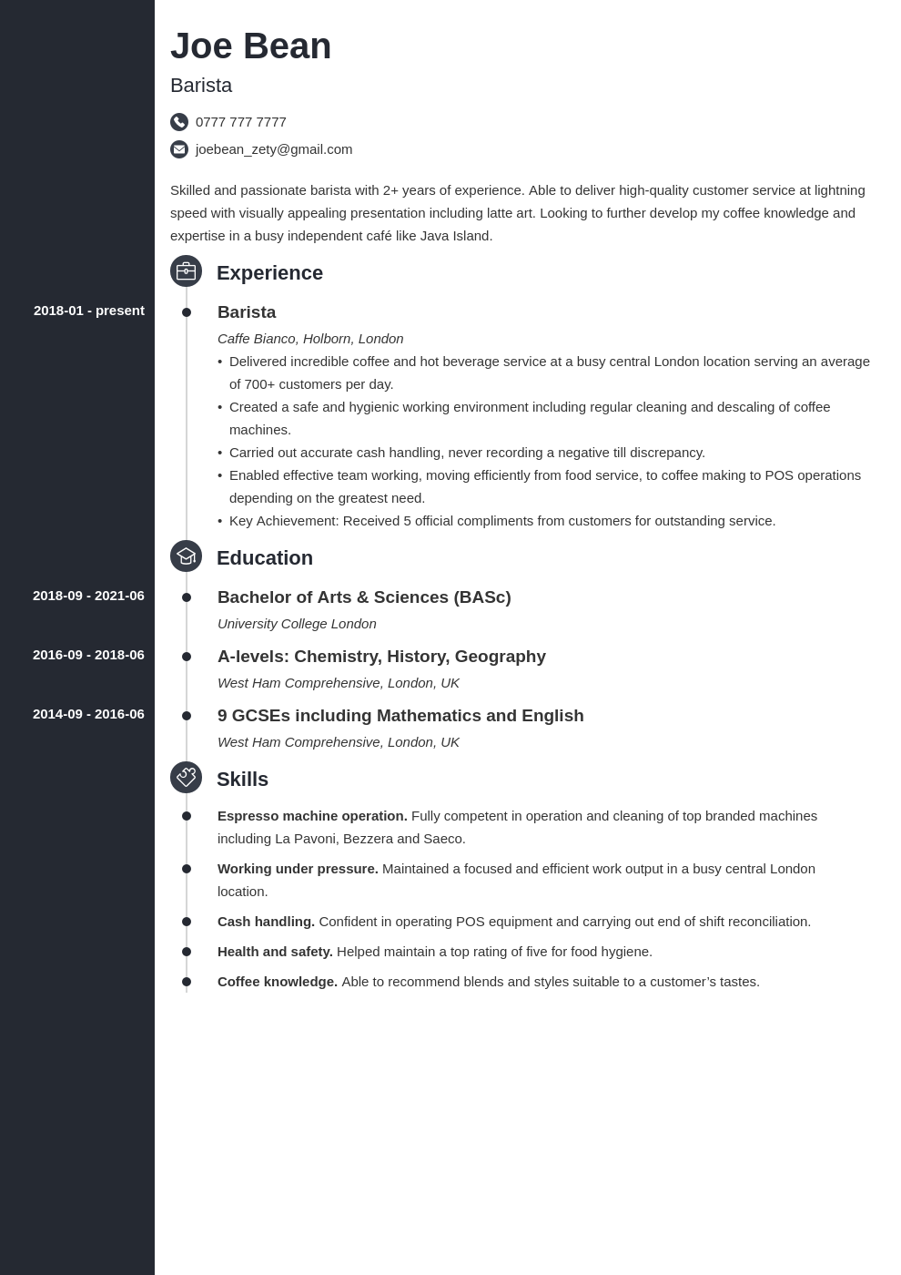 barista cv example  writing guide for 2021