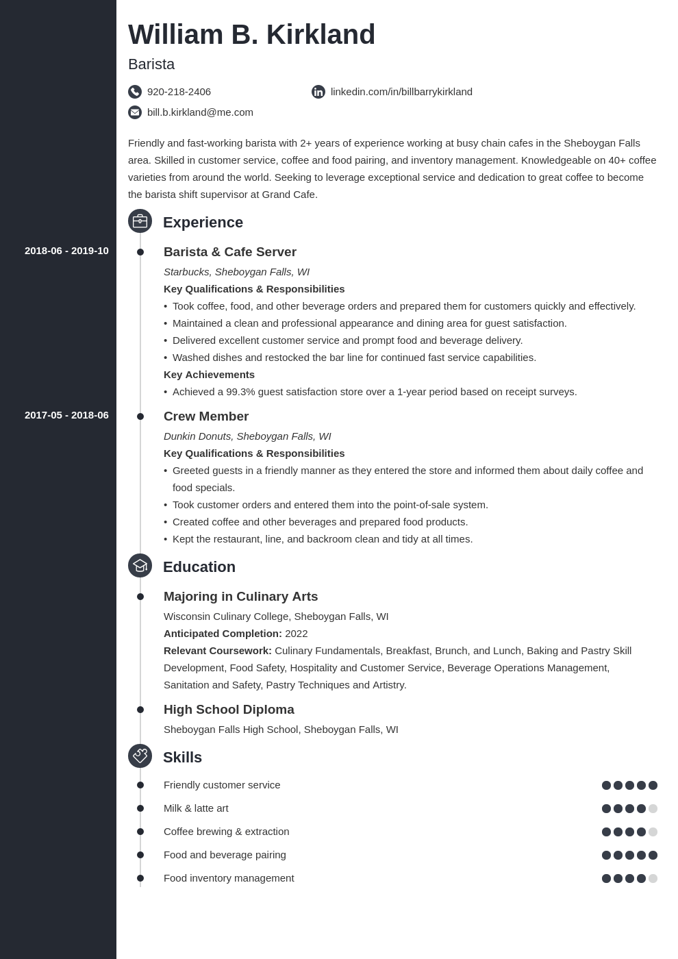 barista resume example template concept