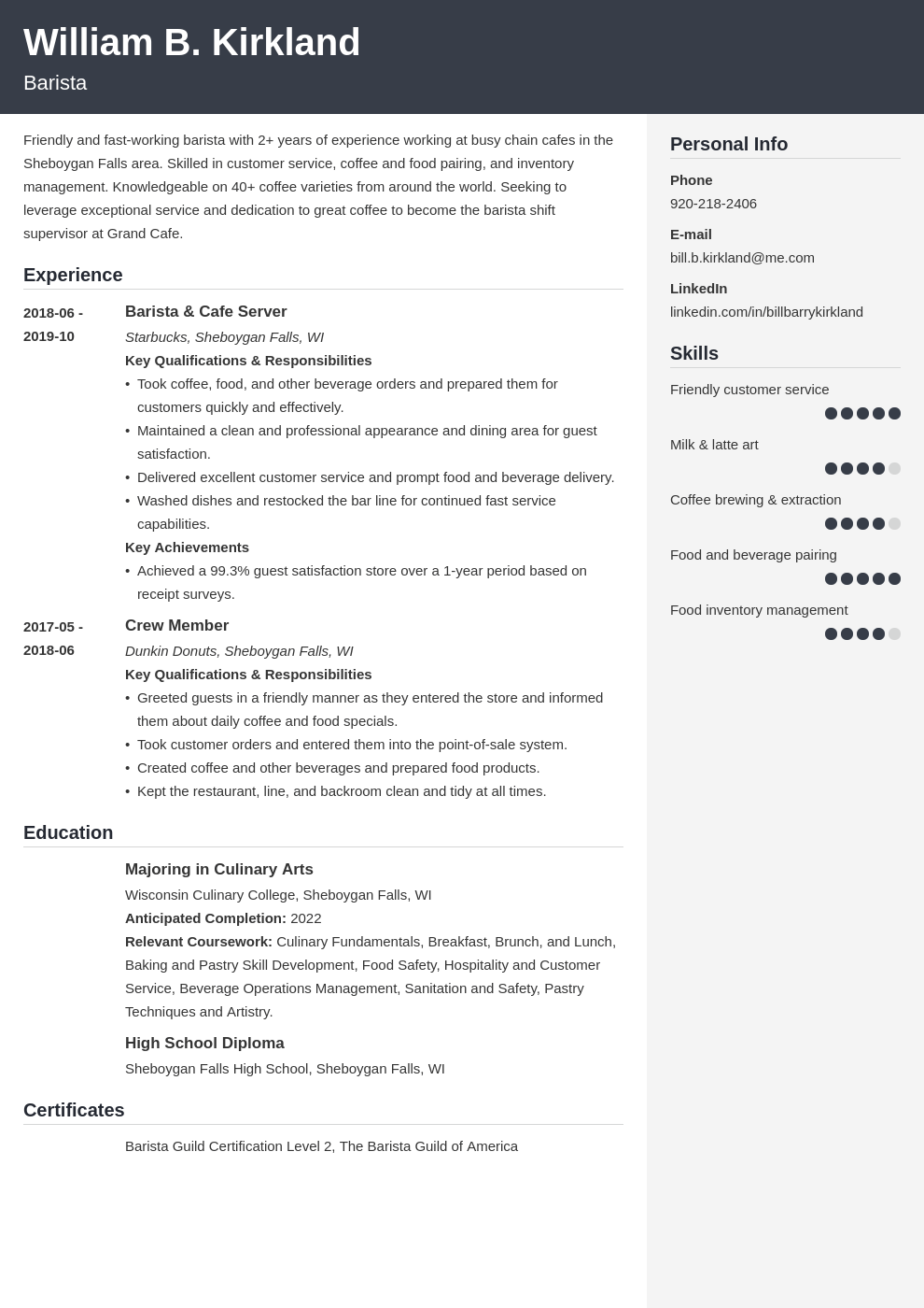 barista resume example template cubic