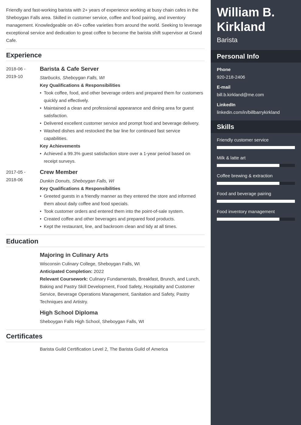 barista resume example template enfold