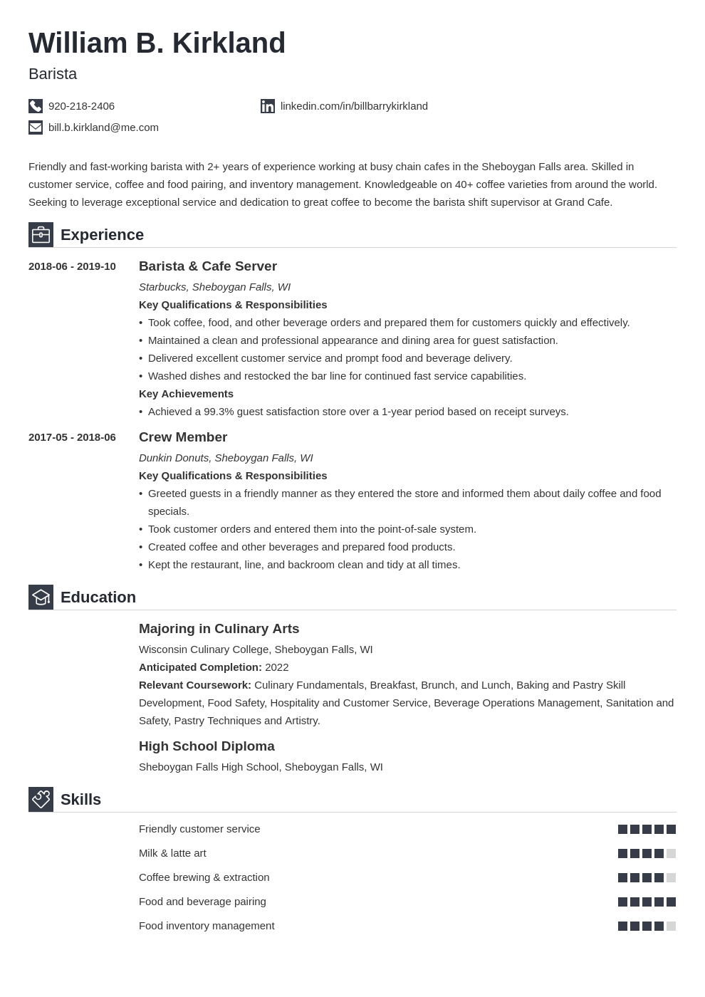 barista resume example template iconic