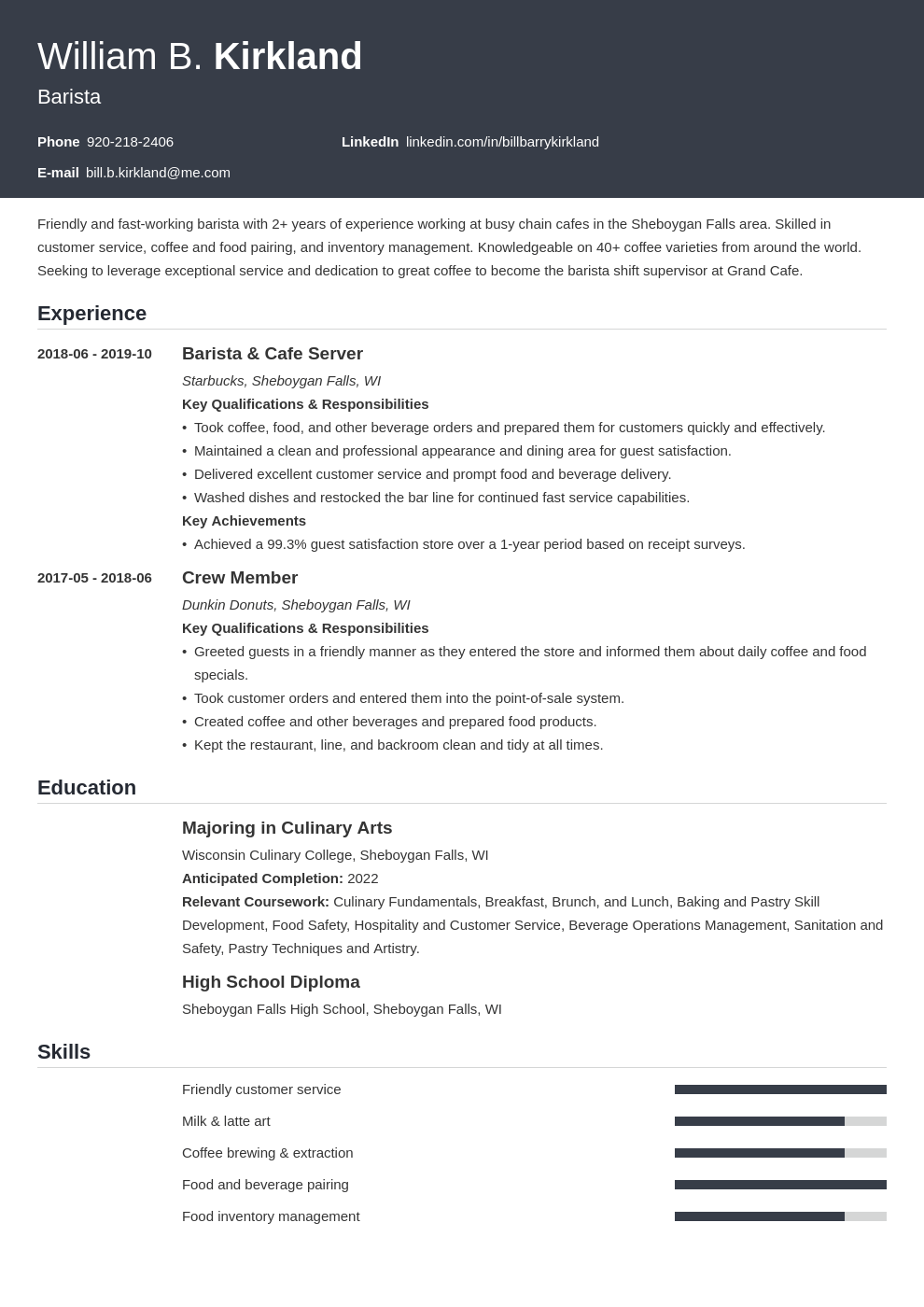 barista resume example template influx