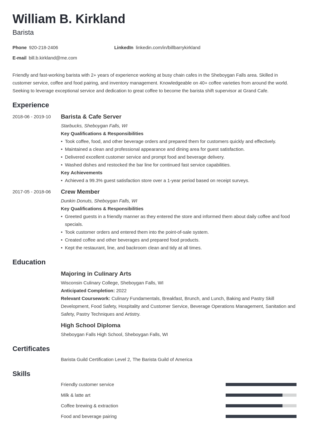 barista resume example template minimo